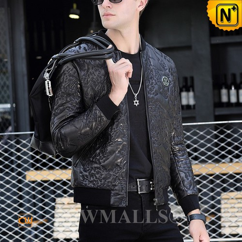 CWMALLS® Sydney Men Embroidered Leather Moto Jacket CW808036[Custom Made, Global Free Shipping]