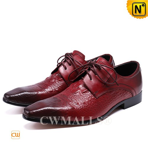 CWMALLS® Canberra Croc-Embossed Leather Oxford Shoes CW708122[Global Free Shipping]