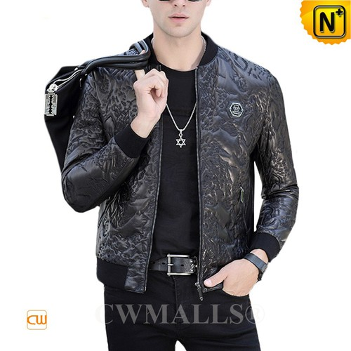 CWMALLS® Auckland Embroidered Leather Bomber Jacket CW808036[Limited Product, Tailor made]