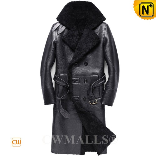 Father's Day Gift | CWMALLS® Stockholm Double Breasted Sheepskin Trench Coat CW807609
