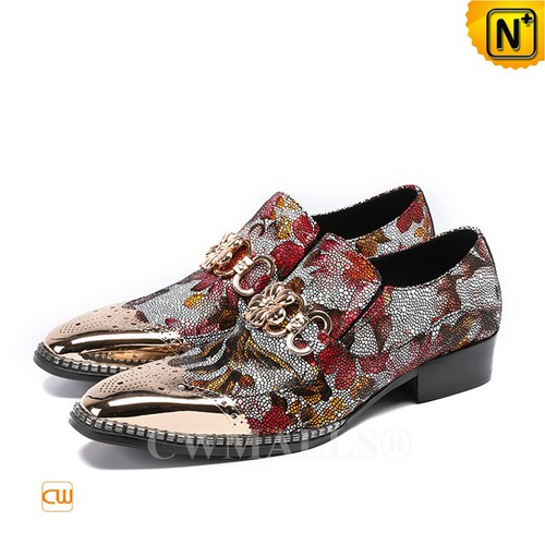 CWMALLS® New York Printed Leather Dress Shoes CW708105[Custom Made, Global Free Shipping]