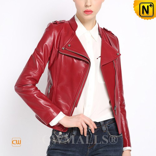 CWMALLS® Houston Red Cropped Leather Jackets CW607020[Custom Made, Mother's Day Gift]