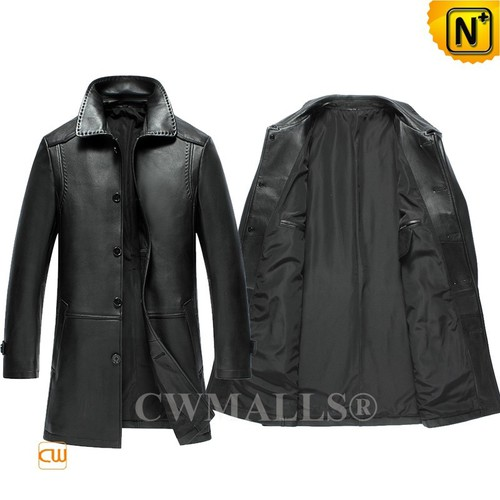 CWMALLS® Sydney Mens Leather Trench Coat CW808025[Custom Gift, Global Free Shipping]