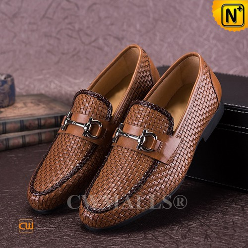 CWMALLS® New York Woven Leather Horsebit Loafers CW708116[Custom Gift, Global Free Shipping]