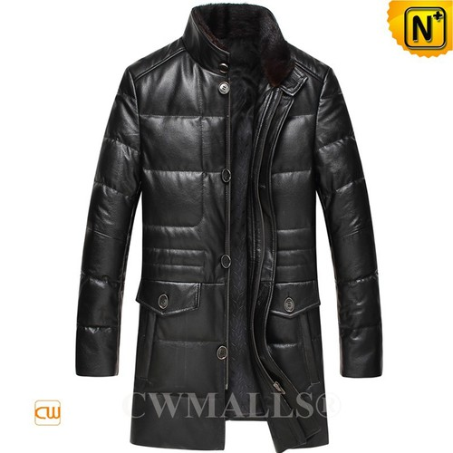 CWMALLS® Chicago Black Leather Down Coat CW817005[Custom Made, Father's Day Gift]
