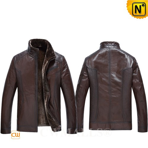 CWMALLS® Canberra Brown Leather Shearling Jacket CW890005[Patented Design, Custom Gift]