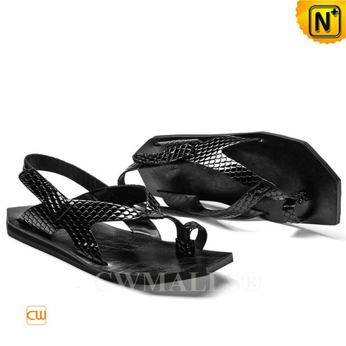 CWMALLS® Men Black Embossed Leather Sandals CW708301[Custom Made, Personalized Gift]