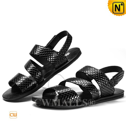 CWMALLS® Men Slip-on Embossed Leather Sandals CW708300[Custom Gift, Personal Tailor]