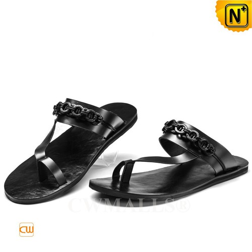 CWMALLS® Mens Black Leather Thong Sandals CW708303[Made to Order, Personal Tailor]