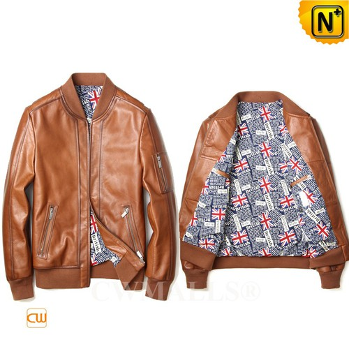 Men Leather Jackets| CWMALLS® Budapest Leather Bomber Jacket CW808050[Custom Made, Patented Design]