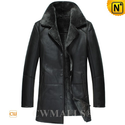 Custom Father's Day Gifts|CWMALLS® Riga Black Sheepskin Coat CW807123[Patented Design, Custom Made]