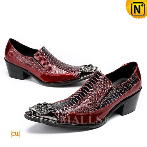 Patented Leather Shoes | CWMALLS® Cuban Heel Dress Shoes CW708000[Father's Day Gifts, Custom Made]