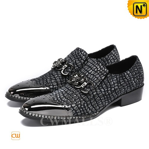 Patented Leather Shoes | CWMALLS® Embossed Leather Shoes CW708001[Father's Day Gifts, Custom Made]
