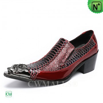 Men Leather Shoes | CWMALLS® Chicago Pointed Toe Printed Leather Shoes CW708000 [Patented Shoes]