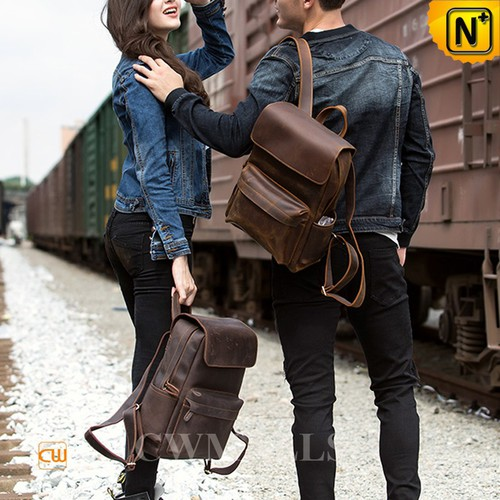 CWMALLS® New York Vintage Leather Flap Travel Backpack CW908031 [2018 Vacation Series]