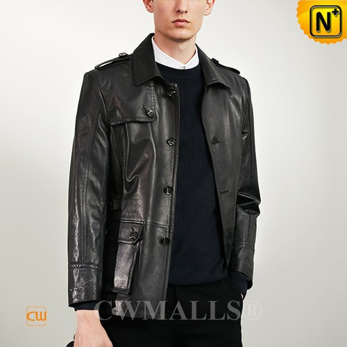 CWMALLS® New York Black Hunter Leather Jacket CW808023 [Custom Made, Patented Design]