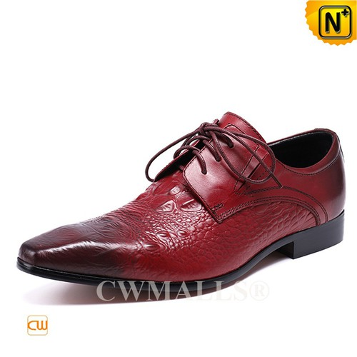 Men Leather Shoes | CWMALLS® London Embossed Leather Dress Shoes CW708122 [Patented Design]