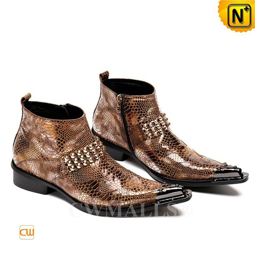 Men Leather Shoes | CWMALLS® New York Mens Embossed Leather Hippie Boots CW707218