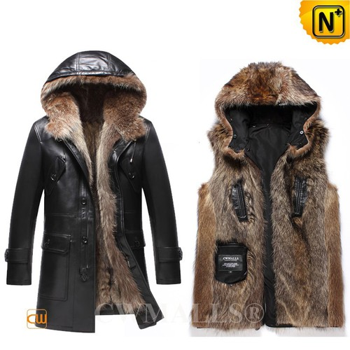 Men Fur Coat | CWMALLS® Moscow Convertible Hooded Fur Leather Coat CW836025 [Custom Made]