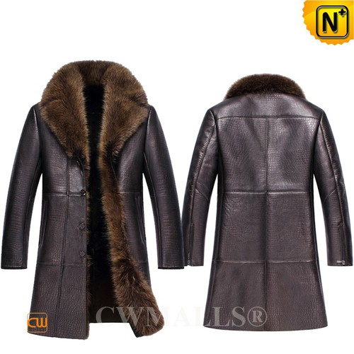 CWMALLS® Canberra Embossed Fur Trimmed Shearling Coat CW836058 [Custom Made, Off-site Delivery]