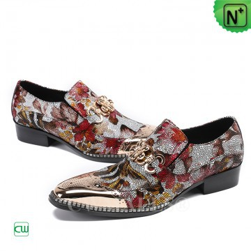 Men Leather Shoes | CWMALLS® London Printed Leather Dress Shoes CW708105 [2018 World Cup Series]