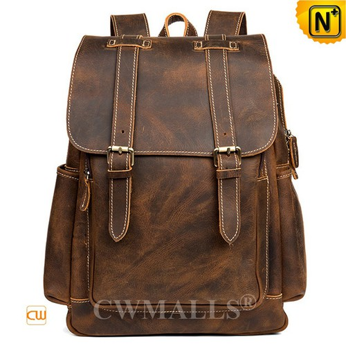 Prime Day 2018 | CWMALLS® Paris Vintage Leather Buckle-Flap Backpack CW908035 [2018 Vacation Series