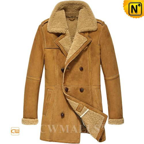 Prime Day 2018 | CWMALLS® Johannesburg Double Breasted Sheepskin Pea Coat CW808128 [Custom Made]