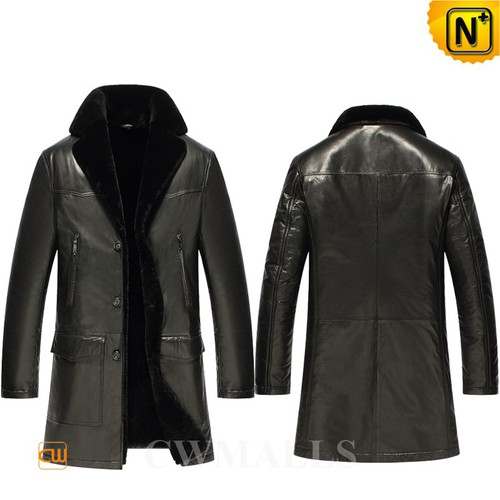 Prime Day 2018 | CWMALLS® Johannesburg Black Shearling Leather Trench Coat CW808098 [Custom Made]