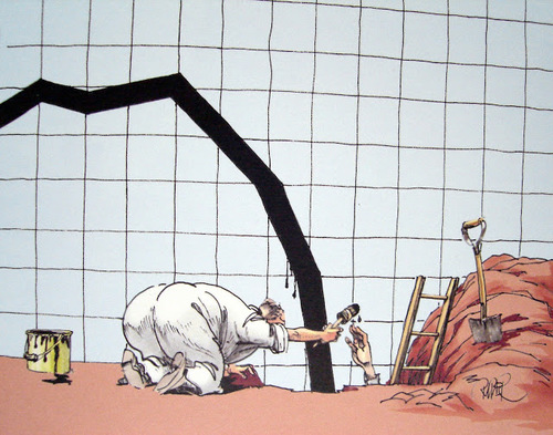 Men digging the economic curve, 2008 - by Swedish cartoonist Riber Hansson