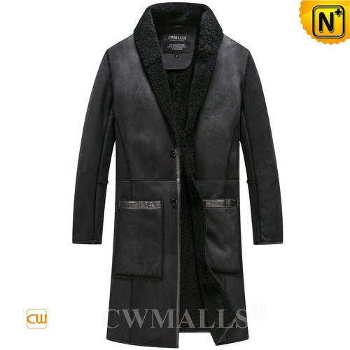 Free Customization   CWMALLS® Boston Black Sheepskin Trench Coat CW808515 [Off-site Delivery]