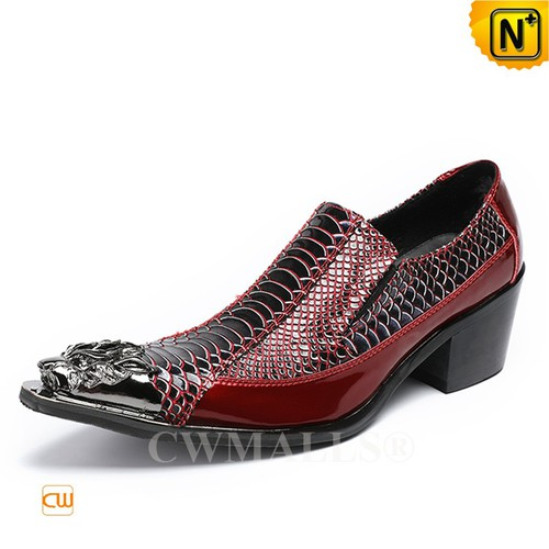 Global Free Shipping | CWMALLS® Houston Leather Dress Shoes Cuban Heel CW708201 [Patented Design]