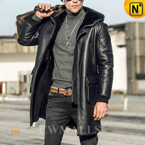 Christmas Gifts | CWMALLS® New York Hooded Black Sheepskin Coat CW808353 [Free Custom Made]