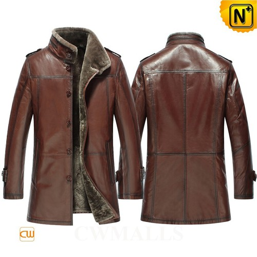 Christmas Gifts | CWMALLS® New York Men Leather Shearling Trench Coat CW858102 [Custom Made]