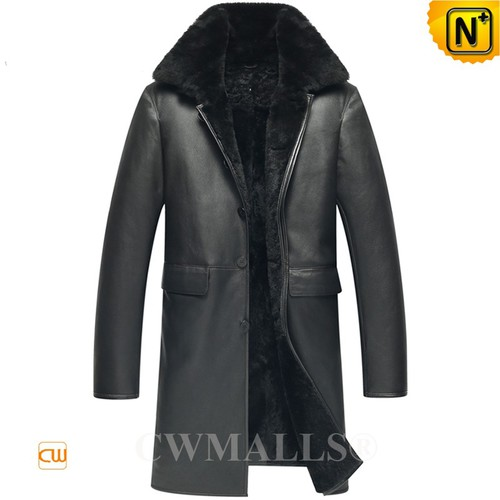 Christmas Gifts | CWMALLS® Miami Men Black Sheepskin Trench Coat CW836061 [Custom Made]