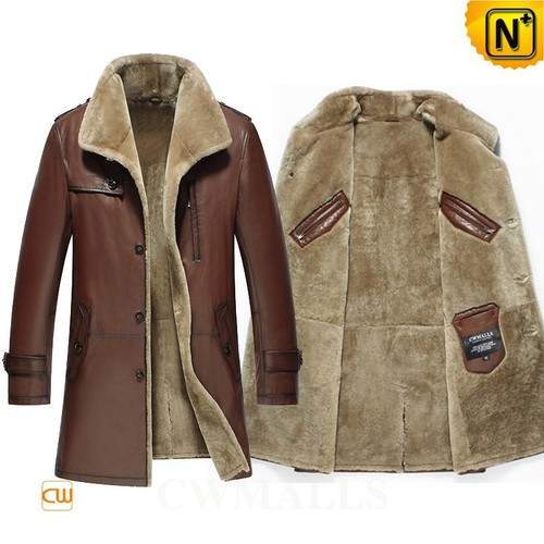 Patented Multifunctional Coat | CWMALLS® Edmonton Leather Shearling Coat CW858108 [Custom Made]
