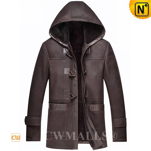 Black Friday 2018 | CWMALLS® Chicago Brown Hooded Sheepskin Coat CW836017 [Custom Made]