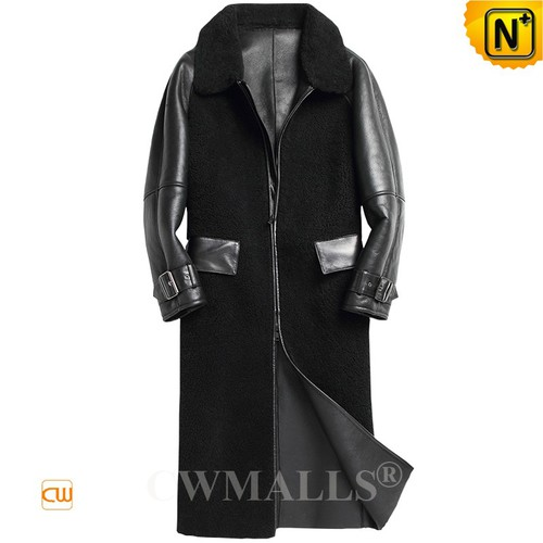 Christmas Gifts | CWMALLS® New York Black Full Length Shearling Coat CW808352 [Custom Made]
