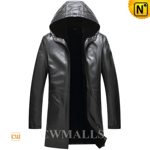 Christmas Gifts | CWMALLS® Chicago Black Hooded Shearling Leather Coat CW807805 [Custom Made]