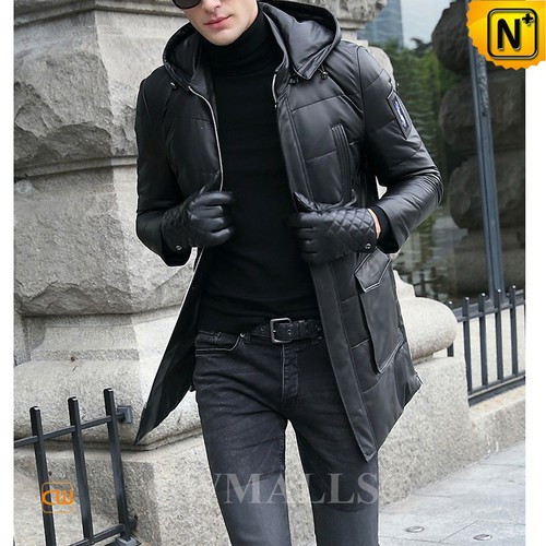 Christmas Gifts | CWMALLS® New York Leather Down Coat with Fur Trimmed Hood CW807206 [Custom Made]