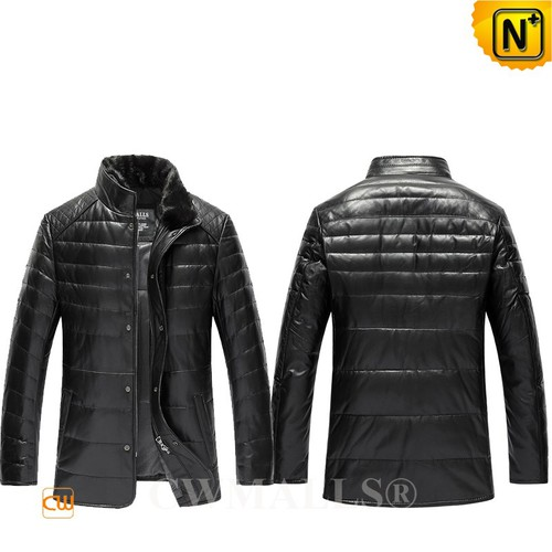 Leather Down Jacket | CWMALLS® Edmonton Quilted Leather Down Jacket CW807032 [Custom Made]
