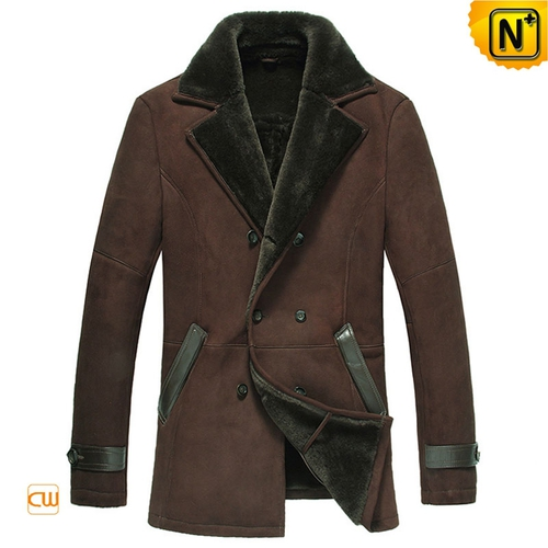 Black Friday 2018 | CWMALLS® New York Double Breasted Sheepskin Coat CW878558 [Custom Made]