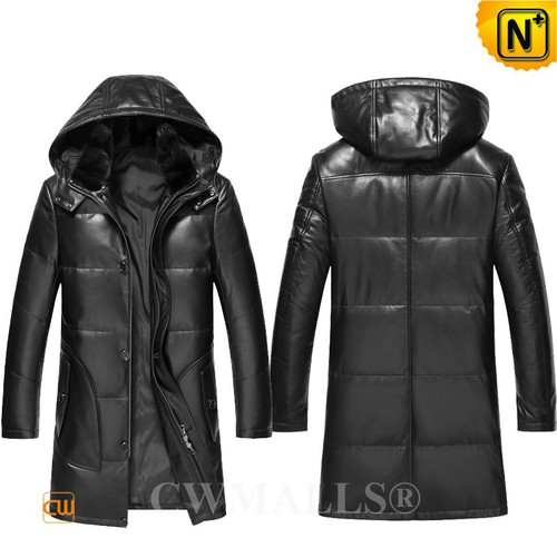 Men Down Coats | CWMALLS® Edmonton Mens Hooded Leather Down Coat CW890003 [Custom Made]