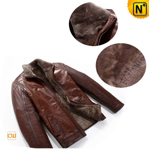 Christmas Gifts | CWMALLS® Chicago Mens Leather Shearling Jacket CW819064 [Custom Made]