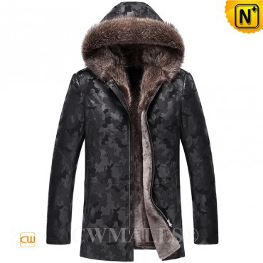 Christmas Gifts | CWMALLS® Calgary Camo Leather Shearling Jacket CW807505 [Custom Made]