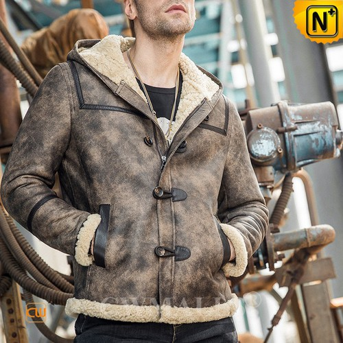 Genuine Sheepskin Coats | CWMALLS® New York Retro Hooded Sheepskin Jacket CW808373 [Custom Made]