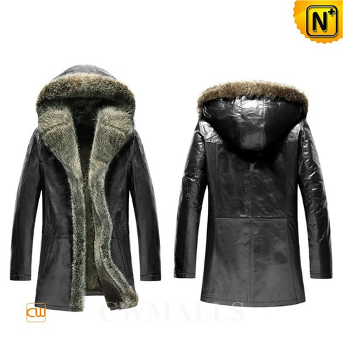 Men Shearling Coat | CWMALLS® Montreal Mens Hooed Fur Shearling Coat CW855303 [Custom Made]