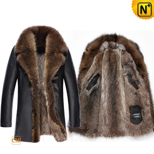 Christmas Gifts | CWMALLS® Chicago Men Raccoon Fur Leather Coat CW808419 [Custom Made]