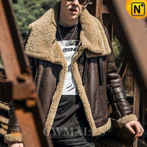 Genuine Sheepskin Jackets | CWMALLS® New York Men Brown Shearling Jacket CW808316 [Custom Made]
