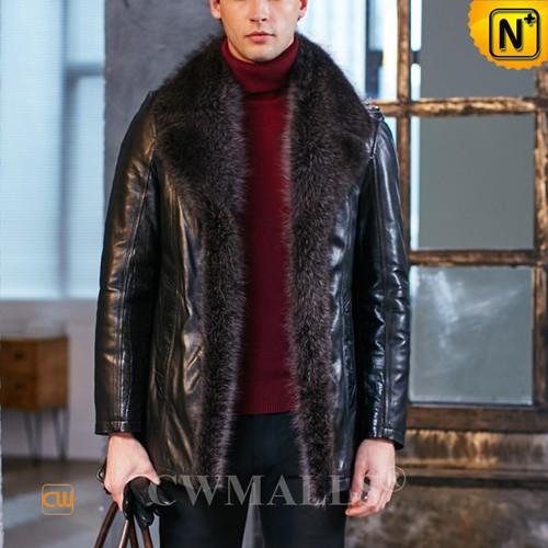 Black Friday 2018 | CWMALLS® Boston Mens Fur Trim Embossed Shearling Coat CW808417 [Custom Made]