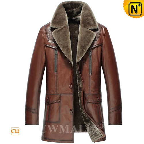 Genuine Shearling Coats | CWMALLS® Milwaukee Mens Shearling Leather Coat CW808088 [Custom Made]